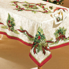 "Christmas Ribbons Tablecloth, 70"" Round,"
