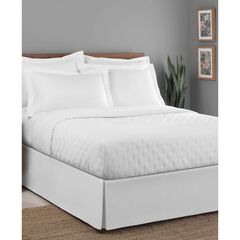 "Luxury Hotel Classic Tailored 14"" Drop White Bed Skirt, WHITE"