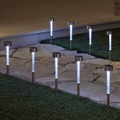 Solar Bubble Stake Lights, Set of 8, CLEAR