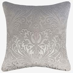 Embossed Panne Velvet Decorative Pillow, SILVER GRAY
