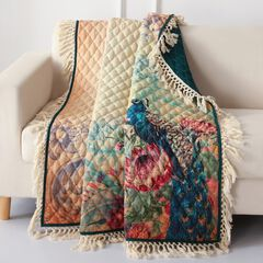 Barefoot Bungalow Eden Peacock Quilted Throw Blanket, ECRU