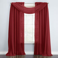 BH Studio Sheer Voile Scarf Valance, BURGUNDY