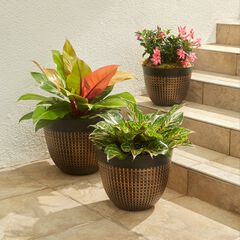 Set of 3 Waffle-Finish Planters, BRONZE