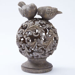 Pre-lit Lantern with Birds, STONE