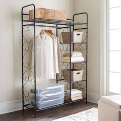 5-Tier Metal Closet with Hanging Rod, BLACK