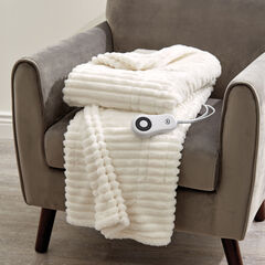 Faux Fur Electric Warming Throw by Serta, WINTER WHITE