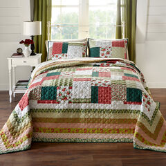 Salem Harvest Bedspread, RED GREEN MULTI