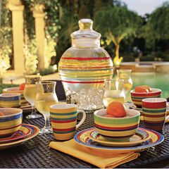 Santa Fe Hand-Painted Striped Stoneware Dinnerware, MULTI STRIPE
