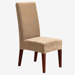Stretch Pique Short Dining Room Chair Cover, CREAM