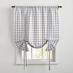 Buffalo Check Tie-Up Window Shade, GREY