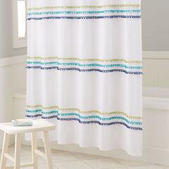 BrylaneHome® Studio PomPom Shower Curtain, OCEAN
