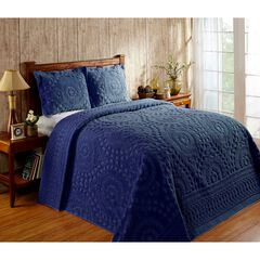 Rio Collection Chenille Bedspread by Better Trends, NAVY