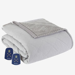 Micro Flannel® Reverse to Sherpa Electric Blanket, GREYSTONE