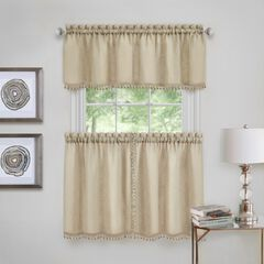 Wallace Window Kitchen Curtain Tier Pair and Valance Set, LINEN
