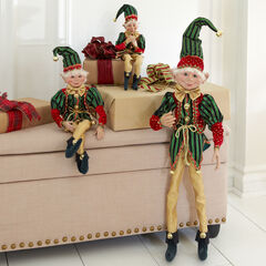 """24""""H Posable Christmas Elf , RED GREEN GOLD"""