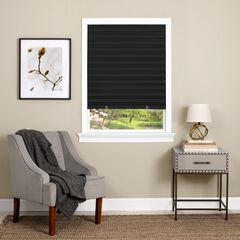 Cordless 1-2-3 Vinyl Room Darkening Pleated Window Shade, BLACK