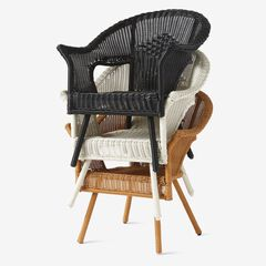 Roma All-Weather Wicker Stacking Chair, NATURAL