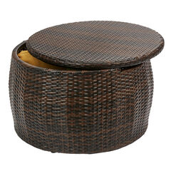Santiago Round Storage Table, BROWN