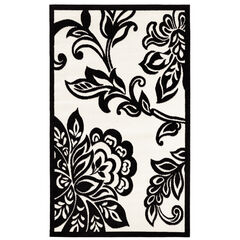 Capri White Leaf 5' x 7' Area Rug,