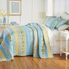 Claudine Floral Printed Bedspread, BLUE YELLOW FLORAL
