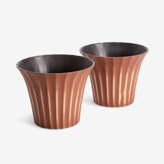 Set of 2 Large Fluted Planters, TERRACOTTA