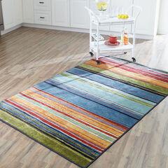 Small Rainbow Stripe Rug , MULTI
