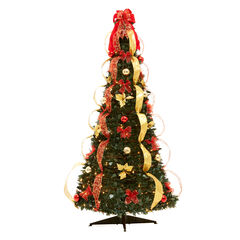Fully Decorated Pre-Lit 6-Ft. Pop-Up Christmas Tree, RED GOLD