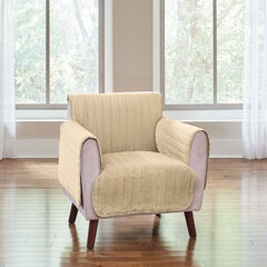 Reversible Plush Stripe Chair Protector, GOLDEN TAN