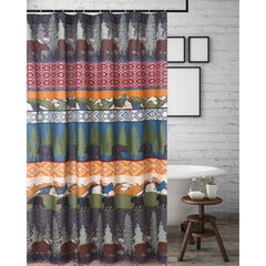 Black Bear Lodge Shower Curtain by Greenland Home Fashions, MULTI