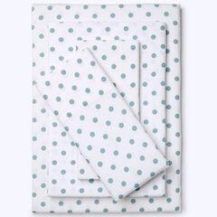 Cotton Flannel Print Sheet Set, SOFT BLUE DOT