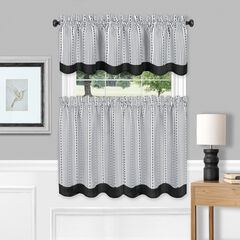 Westport Window Curtain Tier Pair and Valance Set, BLACK WHITE