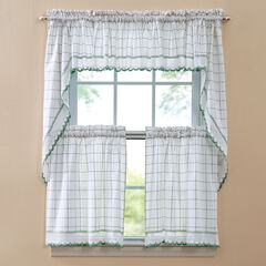 Salem Tier Curtain, WHITE GREEN