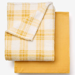 Fleece Blanket + Fleece Throw, GOLD