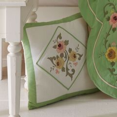 """Ava Embroidered Cotton 16"""" Square Pillow,"""
