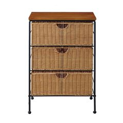 3-Drawer Wicker Chest by 4D Concepts, BLACK METAL