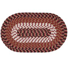 """Alpine Braid Collection Reversible Indoor Area Rug, 48"""" x 72"""" Oval by Better Trends, BURGUNDY STRIPE"""