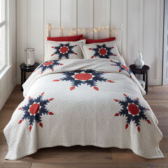 Noelle Patchwork Quilt, IVORY RED BLUE
