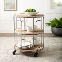 Ani 3-Tiered Metal and Wood Rolling Cart, NATURAL