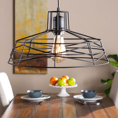 Geometric Wire Cage Pendant Lamp,