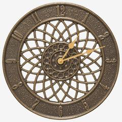 """Spiral 14"""" Indoor Outdoor Wall Clock, FRENCH BRONZE"""
