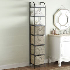 Tall Storage Unit with Baskets, BLACK BROWN