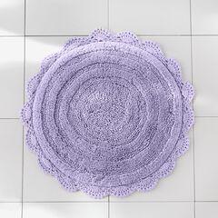 "24"" Round Crochet Bath Mat, LAVENDER"