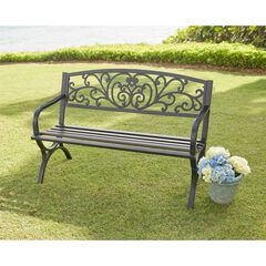Steel Garden Bench, BLACK