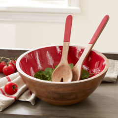 Christmas Enamel Serving Utensils & Bowl, RED