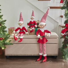 "21""H Posable Christmas Elf , RED WHITE"