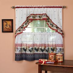 Rooster Printed Tier and Swag Window Curtain Set, BURGUNDY