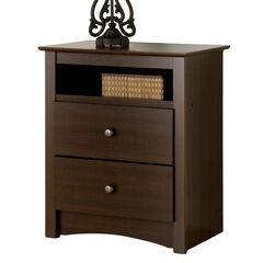 Fremont Espresso 2 Drawer Tall Night Stand with Open Shelf, ESPRESSO