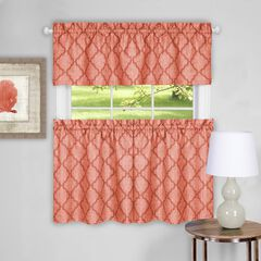 Colby Window Curtain Tier Pair and Valance Set, ORANGE