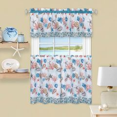 Coastal Tier and Valance Window Curtain Set, BLUE