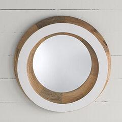 Laney Round Wooden Mirror, NATURAL WHITE